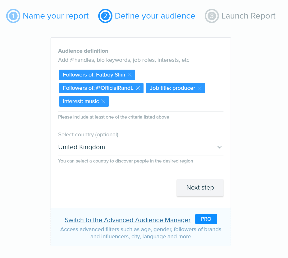 9 Audiense Create Report Combined Search