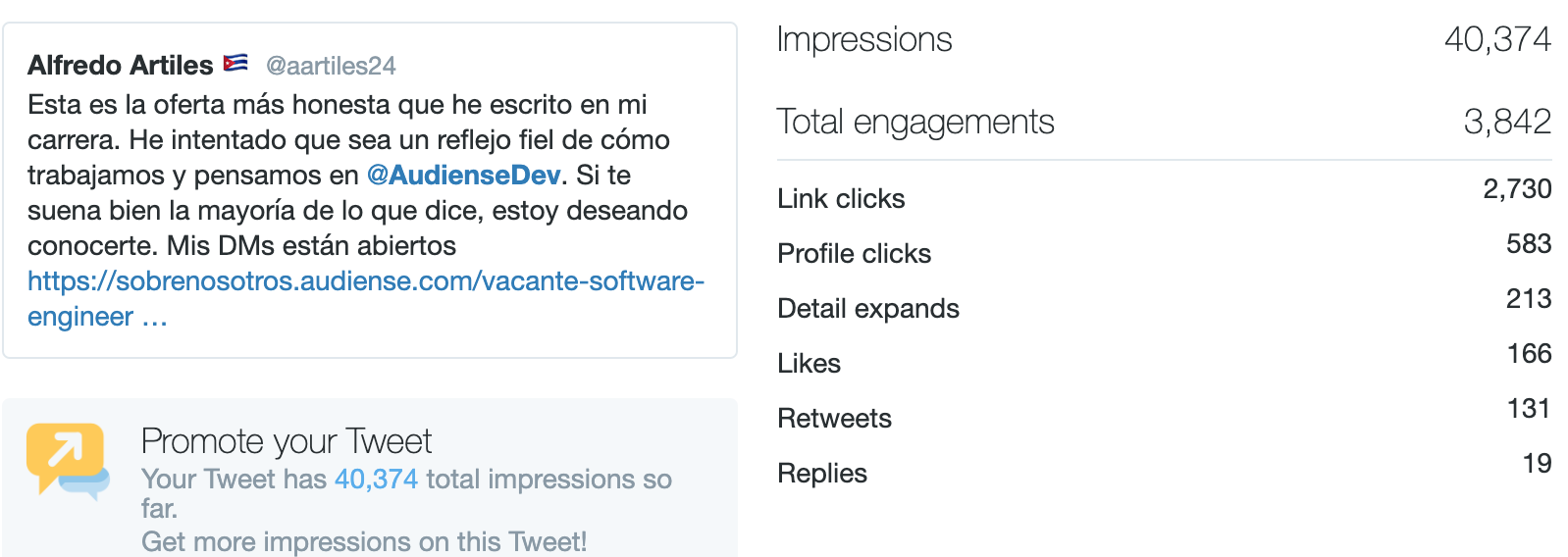 Audiense - Recruiting Campaign - Organic Tweet - Tweet Analytics
