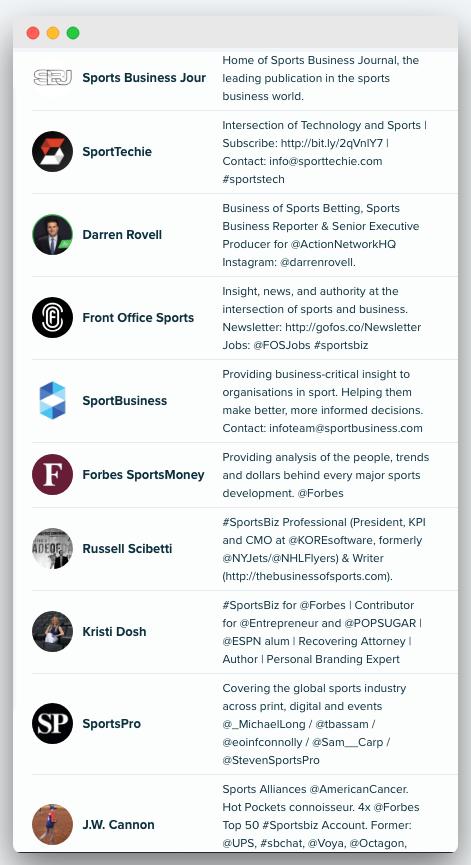 Audiense - Sportsbiz blog - top influencers
