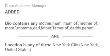 Audiense Connect - Audience Manager - Criteria to build fathers mothers in New York audience