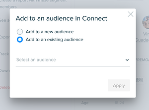 Audiense Insights - Add segment members to an audience NEW or EXISTING ONE