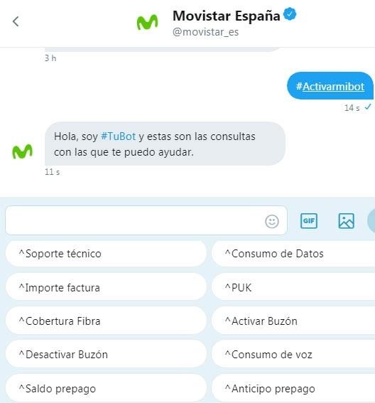 Chatbot Twitter Movistar