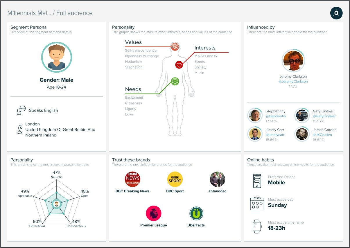 Audiense - Insights Report - Persona - Millennials Male UK
