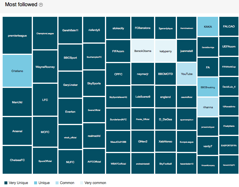 Part of the Affinity Report for the most followed accounts by Leicester's followers