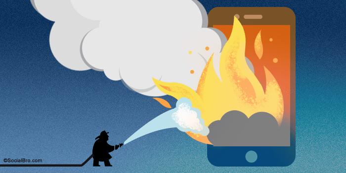 Social Media Crisis SocialBro Fire Phone Burn