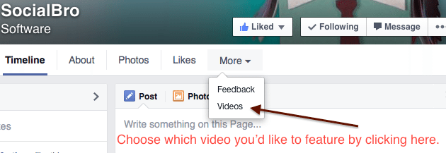 Facebook How To About Me Featured Video Upload Page