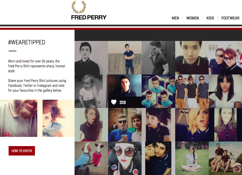 The #WeAreTipped collage as it appear's on Fred Perry's site